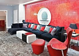 Posh living room in black and red Saved from:http://www.