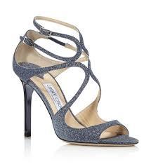 nib jimmy choo lang navy blue fine glitter leather sandals heels 7 37 850 new