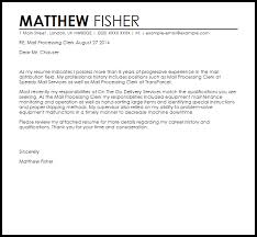 Email Cover Letter Sample For Resumes Mail Processing Clerk Cover Letter Sample Cover Letter
