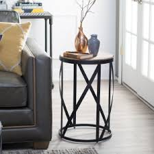 rustic round end table. Belham Living Allen Reclaimed Wood Drum Side Table Rustic Round End