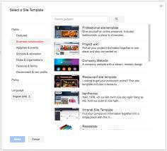 google office website. template selection menu for google sites office website