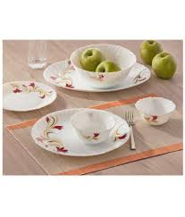 glass dinner plates online india. larah by borosil red lily dinner set- 33 pieces (6 full plates, 6 quarter 12 veg bowls, soup 2 serving 1 rice plate) glass plates online india