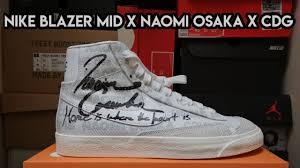 This nike blazer mid comes dressed in a white, pure platinum, sail, and black color combination. Double Collab Special Sneaker Review 114 Nike Blazer X Cdg X Naomi Osaka On Feet Close Up Youtube