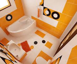 Bilder 3d Interieur Badezimmer Orange Schwarz Baie Biosfarm 5