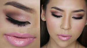 you can go for soft pink eye shadow in matte or glitter your lids and lipstick
