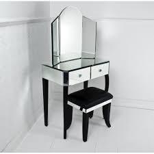 black white corner vanity table with black white stool bench two vanity drawers for storage
