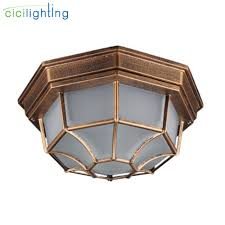 Frosted Glass Light Fixture Us 29 99 Rustic Frosted Glass Shade Outdoor Ceiling Lights Yard Balcony Garden Flush Ceiling Lamp Europe Style Exterior Ip Rate Fixture In Outdoor