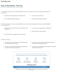 paycheck taxes calculator 2015 quiz worksheet net pay study com