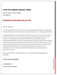 Application Sample For Internship Internship Confirmation Letter Smart Letters