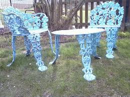 bestest spray paint wrought iron patio furniture spray painted vintage cast iron furniture aqua