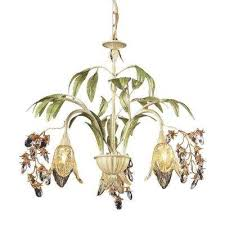 huarco 3 light seashell and green large chandelier with amber glass flower shades
