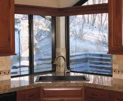 Decorations:Minimalist Angle Corner Window With Iron Frame Ideas Elegant  Corner Kitchen Sink Showing Rectangular
