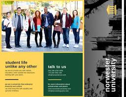 tri fold school brochure template green yellow formal university school trifold brochure templates