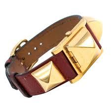 hermes medor vintage studded leather bracelet watch for