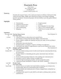 Sample Nanny Resume 19 Create My Techtrontechnologies Com