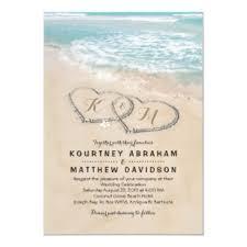 Beach Invitation Tropical Vintage Beach Heart Shore Wedding Invitation
