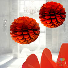Paper Flower Balls To Hang From Ceiling Orange Tissue Paper Pom Poms Flower Decorations Ball Artificial Hanging Wedding Flowers Party Ceiling Decorations Ball Pom Pom Party Balls
