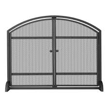 iron fireplace screens. UniFlame 1-Panel Arch Top Black Wrought Iron Fireplace Screen With Doors Screens