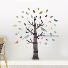 large colourful tree birds wall stickers art decals children kids room reusable