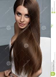 Schöne Haar Farbe Frau Mit Glattem Geradem Langem Haar Browns