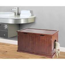 Merry Products Walnut Cat Hidden Litter Box Furniture Bench