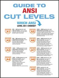 Safety Poster Guide To Ansi Cut Levels