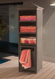 outdoor pool towel storage cabinet