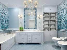 Möbel In Klassischen Blauen Bad Blau Gefärbte Bad Mit Weißen Möbeln