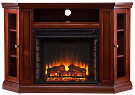 corner electric fireplace in mahogany