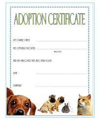 Adoption Certificate Template Pet Adoption Certificate Template Resume Ideas Puppy Templates Birth