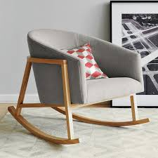 creative idea low grey modern rocking chair with square cushion near artictic painting home furniture