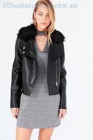 outerwear black kimchi blue glam faux fur collar moto jacket womens clothing