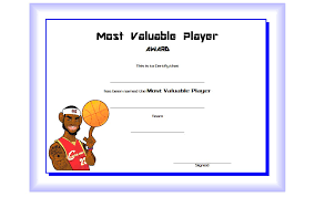 Mvp Certificate Template Free For Basketball 2 One Package