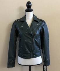 details about collection b faux leather star studded green moto jacket size xs