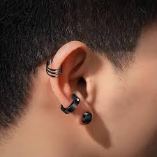 6 Pairs Unisex Stainless Steel Ear Clip Non Piercing Earrings Men