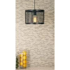 1 light pendant with matte black drum type iron wire mesh shade
