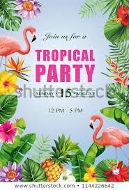 Tropical Hawaiian Party Invitation Exotic Flowers Stock Vector