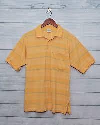 Haband Mens Short Sleeve Golf Polo Shirt Striped Yellow