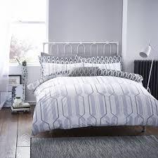 bianca cottonsoft geo duvet cover set grey superking to enlarge