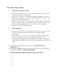 the lottery essay outline  the lottery essay outline