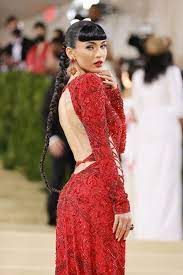 Red Lace-Up Dress at the 2021 Met Gala