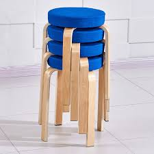 4x stacking round wooden bar stools counter bentwood chair assembled cotton seat