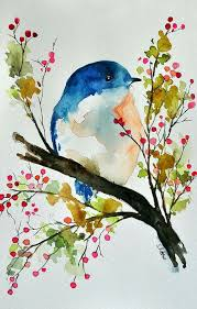 inspiration original watercolor painting bird in a spring tree bird art inch