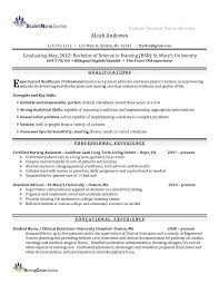 Resume Templates For Cna Or Nursing Resume Examples With Clinical