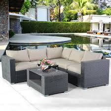 Tangkula outdoor furniture 4 piece sectional sofa with coffee table all weather proof heavy duty steel frame couch set for garden balcony poolside