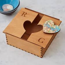 handmade wooden map heart box lid open wedding keepsake box