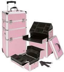 pink rolling makeup case