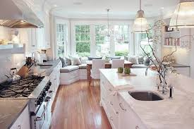 ultra modern french country galley kitchen design with marble island