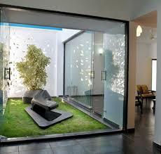 indoor garden using glass wall