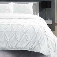 details about white pintuck bedding bed room duvet cover set single double super king sizes